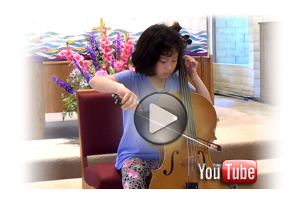 Having been studying cello just for one and a half year, 10 year old Katie L. practices Prelude in G Major by J. S. Bach